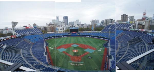 増築・改修が完了した横浜スタジアム。両翼ウィング席が加わり、収容席数は3万4046席(プロ野球開催時最大)に(撮影日:2020年3月23日写真:日経BP)
