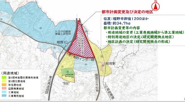 トヨタ自動車東日本の東富士工場跡地と用途地域変更(出所:シンポジウムでの高村市長のプレゼン資料)