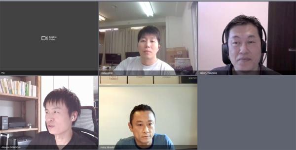 AWSジャパンのオンラインセミナーから。下部左が園田氏、下部中央がモデレーターを務めたAWSジャパン スタートアップ事業開発部 本部長の畑浩史氏、上部中央が中山氏、上部右が左近氏(出所:オンラインセミナーのスクリーンショット)
