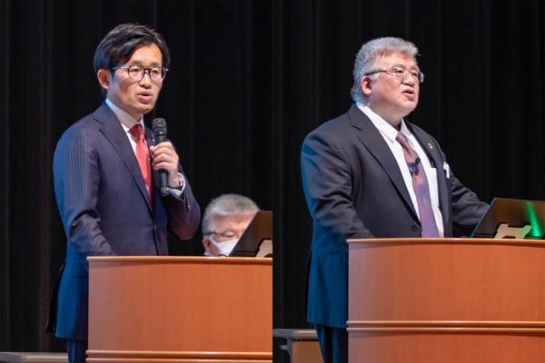 左がシーメンスヘルスケア 代表取締役社長 森秀顕氏、右が伯鳳会グループ 理事長 古城資久氏(写真:小口 正貴、以下同)