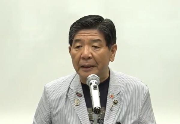 大阪府高石市長の阪口伸六氏(写真:記者会見のオンライン画面キャプチャー)