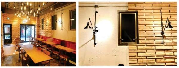 7gardenが実証を行った自社施設の内装。カフェの空間をおよそ半分に区切り、一方の壁はヒノキ材による木質化、もう一方はコンクリートに塗装を施した従来の内装のままとしている(出所:日本住宅・木材技術センター「内装木質化等の効果実証事業 成果報告会」資料、以下同)