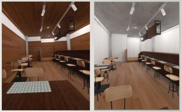東京大学大学院農学生命科学研究科によるVRカフェ空間の画像。木材率や使用木材の色を変えたものを複数用意して検証した