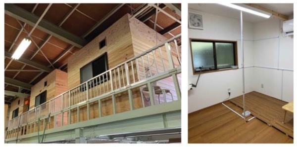 畦地製材所の事例で用いられた検証用の施設。3棟の居室(左写真)の内部(右写真)には、「100年杉」「50年杉」「複合フローリング」の3種類の床材を施工した