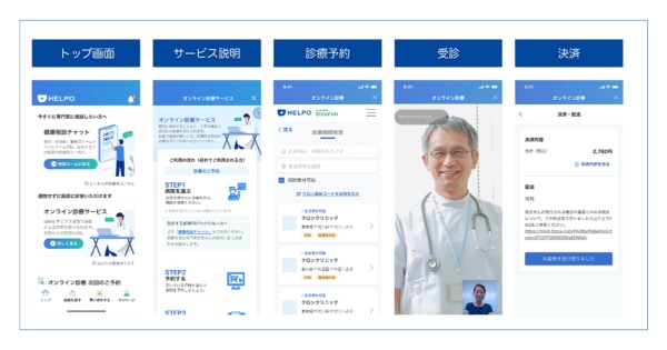 オンライン健康医療相談サービス「HELPO(ヘルポ)」の画面イメージ(出所:ヘルスケアテクノロジーズ)