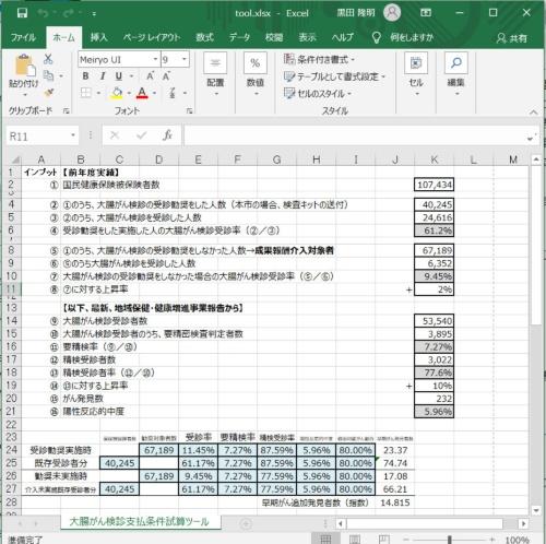 「大腸がん検診支払い条件試算ツール」画面(部分)(資料:八王子市)