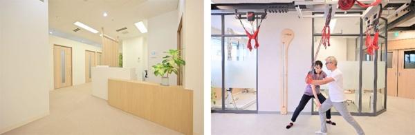 左は「フィジオセンター」施設内の受付エリア、右はトレーニング室内(出所:プレスリリース)