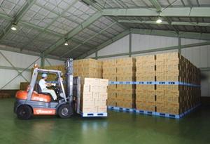 ジャパンフーズの工場で。トラックで到着した商品をコンテナで仕分けする(写真:いずもと けい)