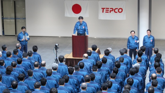 原発事故から7年目の3月11日、東電・福島第1原発では黙祷と役員訓示が行われた