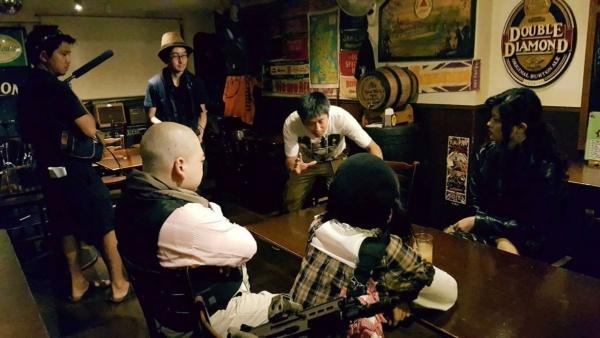 『ハングドマン The Hanged Man』撮影風景(写真提供:巡る×シネマ×カフェ実行委員会)