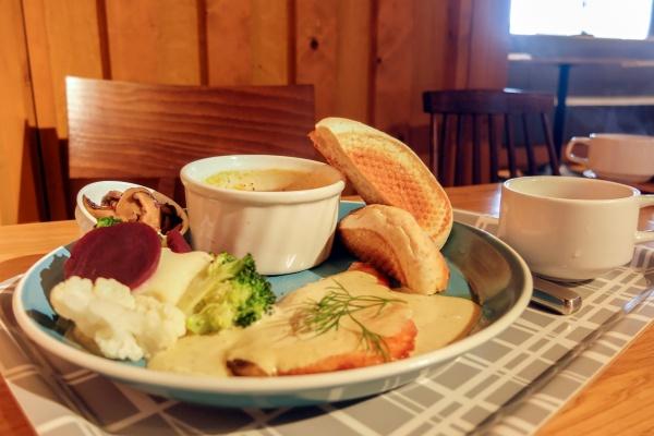 カフェで提供しているノルウェーサーモンプレート(写真:塩谷歩波)