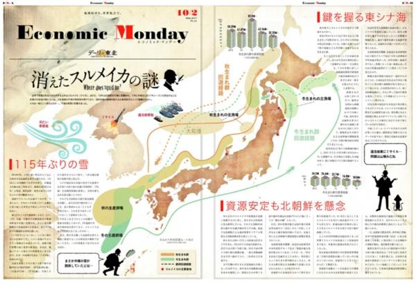 Economic Mondayの紙面。地域の産業と日本全体あるいは世界の経済がどう結びついているのかを解説する。こちらは2017年10月の記事「消えたスルメイカの謎」。同時期にグッドデザイン賞を受賞した。(画像提供:デーリー東北新聞社)