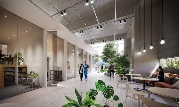 「(仮称)博多駅東一丁目開発」施設1階のイメージ。多様な働き方に対応したスモールオフィスを計画中。(※今後の関係官庁との協議等により計画に変更が生じる場合があります)