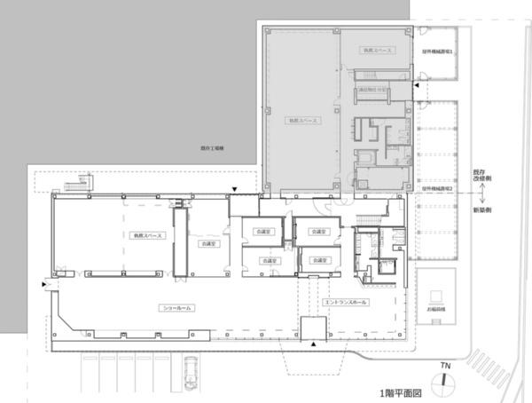 1階平面図。既存棟(網かけ部分)と一体化させた(資料:プランテック総合計画事務所)