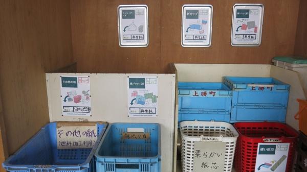 「ごみステーション」の紙の分類エリア。再生できる場合はいくらで売却でき、できない場合は処理にいくら払わなくてはいけないのかが一目で分かる(写真:大塚千春)