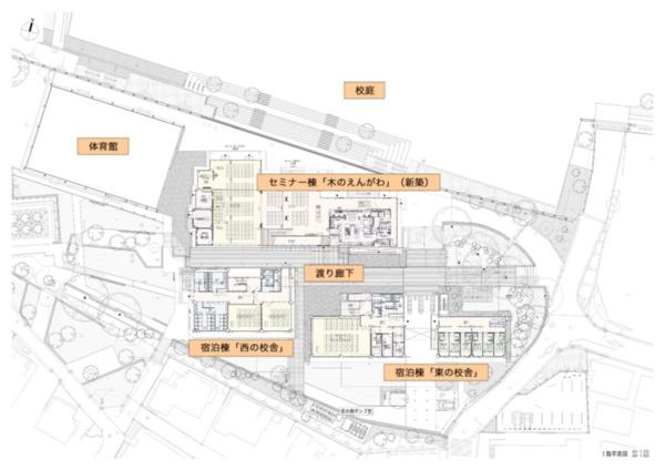 ICIキャンプの建物配置図。校庭に面したセミナー棟「木のえんがわ」は既存建物を解体して新設。その他の2つの校舎と体育館は以前の建物を利用する(資料:前田建設工業の図に加筆)
