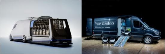 (写真2)車体上部にドローンの発着機能を備える完全自動配送トラックのコンセプトカー「 The Vision Van 」(左)と配送ロボットを備える完全配送トラック(右)(出所:Daimler)