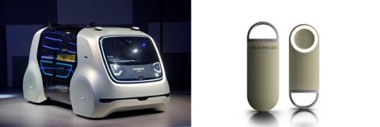 (写真3)Sedricの外観(左)と専用リモコンのOneButton(右)。Sedricという名称は「self-driving car」を意味している。OneButtonは世界中で利用できるモビリティIDとして機能する(出所:Volkswagen)