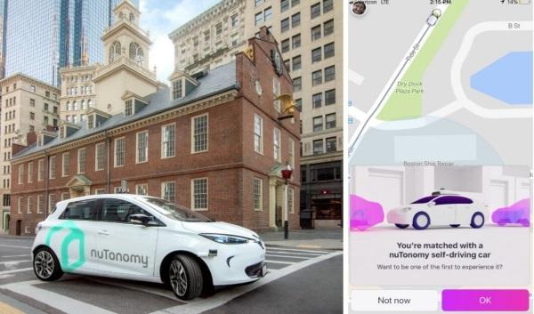 写真左は、米ボストンの公道を走行するヌトノミーのロボタクシー(出所:ヌトノミー)。右は米ボストンの実証実験で用いられた配車アプリの画面(出所:リフト)