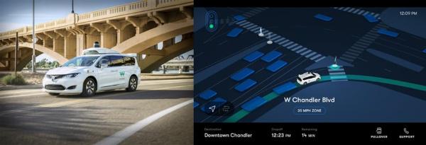(左)ウェイモ・ワンで用いられているレベル4の自動運転車(出所:ウェイモ)<br> (右)自動運転車の車内に設置されている乗客向けディスプレーの表示例(出所:ウェイモ)
