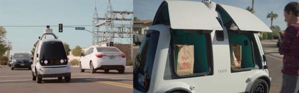 (左)アリゾナ州を走行するニューロの無人配送車「R1」(出所:ニューロ)<br>(右)ニューロの無人配送車「R1」のドアをスマホアプリで開けたところ(出所:ニューロ)