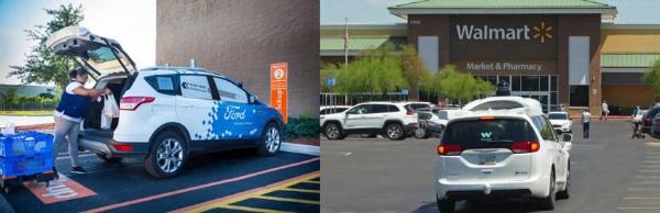 (左)ウォルマートの食料品配送にも用いられているフォードの自動運転車(出所:フォード・モーター)<br>(右)ウォルマート店舗に顧客を送迎するウェイモの自動運転車(出所:ウォルマート)