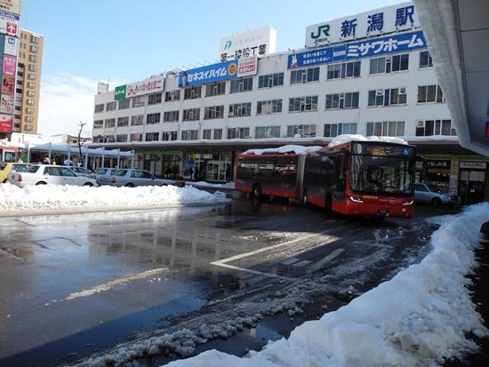 (写真1)BRT(バス高速輸送システム)の萬代橋ラインを象徴する連節バス。新潟市が4台を購入し、運行事業者の新潟交通に無償貸与する(写真:茂木俊輔)