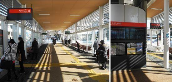 (写真3)BRT萬代橋ラインの交通結節点の一つである「市役所前」。写真左は、新潟駅からのBRTとバス路線との間の乗り換えターミナル。乗降口は、手前の左右と奥の左右、合計4カ所にある。写真右は、新潟駅に向かうBRTとバス路線との間の乗り換えターミナル。どのバスにどこで乗り換えればいいかは、案内板に表示される(写真:茂木俊輔)