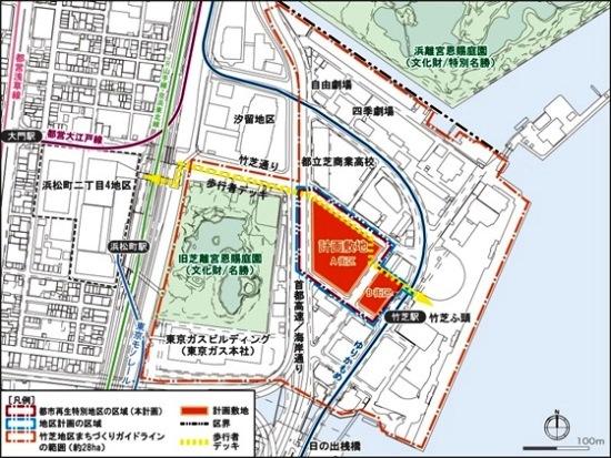 (図1)「(仮称)竹芝地区開発計画」の位置図。東京都計量検定所と都立産業貿易センターの跡地であるA街区には業務棟を、都公文書館の跡地であるB街区には住宅棟を建設する(資料:東急不動産)