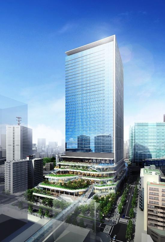 (図2)地上39階建て業務棟の外観イメージ。地上5階までの低層部には、都立産業貿易センター浜松町館の貸し展示室や貸し会議室などが設けられる(資料:東急不動産)