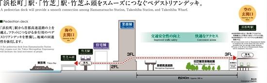 (図3)歩行者デッキはJR浜松町駅と竹芝ふ頭を結ぶ。途中、業務棟や住宅棟とも接続。ただし、浜松町駅改札階への接続は駅改良工事が終わってからになる(資料:東急不動産)