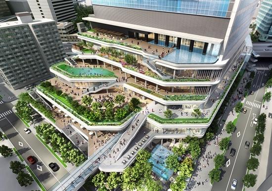 (図4)業務棟低層部の南東側はスキップテラス。緑と水を取り入れたテラス空間が階段状に続く。アフターコンベンションへの利用も想定する(資料:東急不動産)