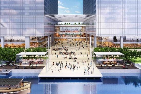 (図1)「(仮称)セントラルプラザ」のイメージパース。浜松町ビルディングと芝浦運河は現在、道路で隔てられているが、新しく建設する2棟の超高層ビルは、その足元を運河と一体的に整備する計画だ(資料:野村不動産)