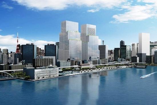 (図2)外観のイメージパース。巨大なツインタワーを南東方向から見たところ。左が先行して2023年度に完成予定のS棟。右が2029年度に完成予定のN棟(資料:野村不動産)