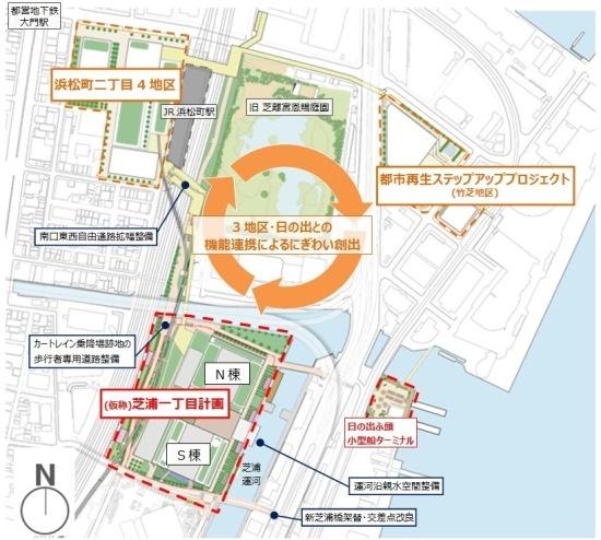 (図4)再開発プロジェクトが展開されている3つの地区が互いに連携し、にぎわい創出を図る(資料:野村不動産)