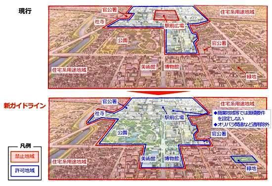 (図1)「新ガイドライン」はプロジェクションマッピングの実施が可能になるエリアのイメージ。屋外広告物条例ガイドラインでは禁止地域に定められていた駅前広場、官公署、社寺、公園、美術館、博物館などを、そこから外し、可能なエリアを大きく広げた(資料:国土交通省)