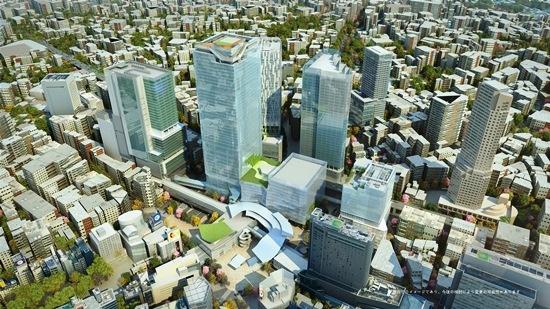 (写真1)2027年度ごろの渋谷駅周辺のイメージ。中央にそびえる超高層が、渋谷スクランブルスクエア(東棟)。その左に、渋谷ヒカリエが見える。右端の超高層は、セルリアンタワー(画像提供:東京急行電鉄)