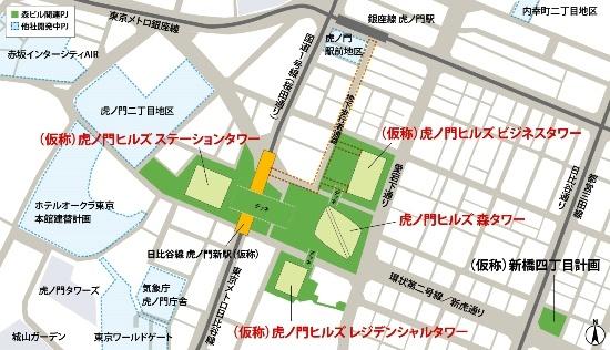 (図2)(仮称)虎ノ門ヒルズステーションタワーは虎ノ門ヒルズ森タワーを中心とするエリア内に建設される予定。2022年度完成を目指し、東京メトロの日比谷線虎ノ門新駅(仮称)と一体整備される計画だ(資料:森ビル)