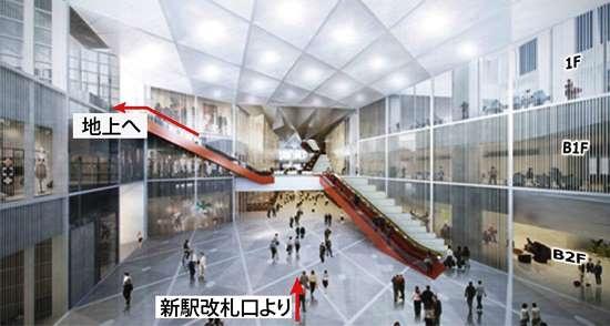 (図4)虎ノ門新駅(仮称)の東西に整備される予定の駅前広場の一つ、西駅広場のイメージ。自然光に導かれるように地上レベルに上がれる空間づくりを目指す(資料:森ビル)