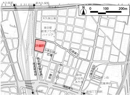 (図2)「新宿TOKYU MILANO再開発計画」の計画地。外国人観光客に東京で一番人気の「新宿・大久保」エリアの真ん中に位置する(資料:東急電鉄)