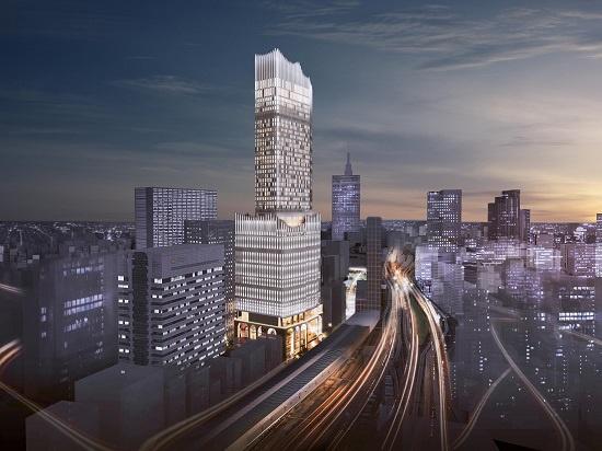 (図1)「新宿TOKYU MILANO再開発計画」で開発される複合ビルを、大久保方面から見た外観イメージ。地上40階建てはひときわ目立つ(資料:東急電鉄)