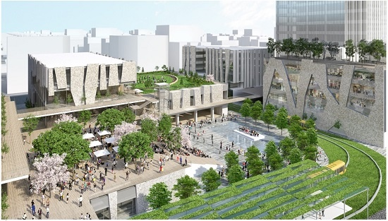 (図1)宇都宮駅東口地区整備事業の完成予想パース。優先交渉権者に選定された民間グループの提案では、LRT(次世代型路面電車)の停留場の目の前に交流広場やコンベンション施設で構成する公共施設を配置する。民間施設としては、ホテルとオフィスなどの複合ビル、ホテルと商業施設などの複合ビル、分譲マンション、医療施設などを提案している(資料:野村不動産)