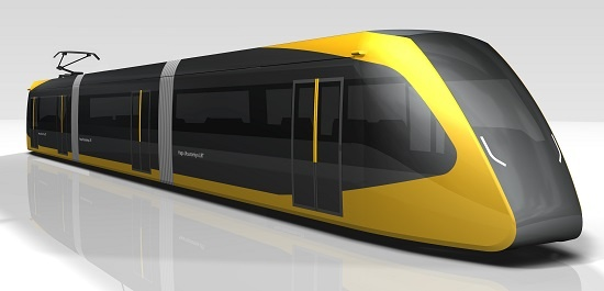 (図3)LRTの車両デザイン。LRTの整備事業を進める宇都宮市と芳賀町では外観デザイン3案の中から一つを選ぶアンケート調査を実施し、その結果を基にこのデザインを決定した。車両定員は155人(資料:宇都宮市)