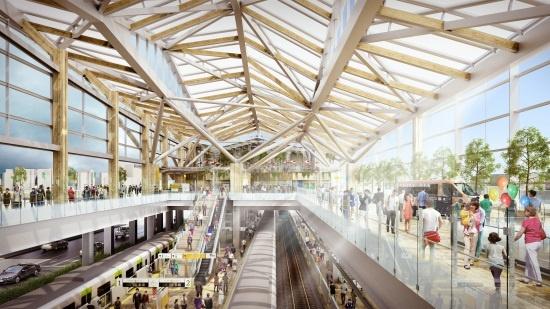 (図1)高輪GW駅の内観イメージ。ガラス張りの大きな吹き抜け空間で、駅とまちの一体感を強める。左手が駅西口のまち側(資料提供:JR東日本)
