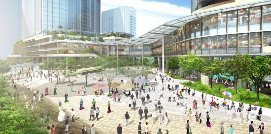 (図2)高輪GW駅からまち方向を見たイメージ。駅前には歩行者広場が広がる。右手のビルは4街区北棟、左手のビルは4街区南棟(資料提供:JR東日本)
