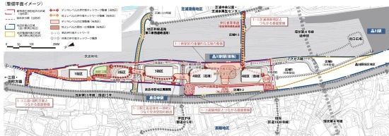 (図3)品川開発プロジェクトの整備平面イメージ。高輪GW駅の東側に広がる鉄道用地の上下を越えて東西を結ぶ3本の道路も整備される(資料提供:JR東日本)