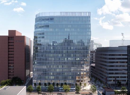 (図1)「(仮称)天神ビジネスセンター」の外観イメージ。ビルの高さは周囲よりひと際高く90m近くに達する。右手のビルとの間には、福岡地所など民間3社が地下鉄天神駅と既設の地下通路にある「星の広場」を結ぶ幅員6m×長さ約120mの地下通路を現在整備中(画像提供:福岡地所)
