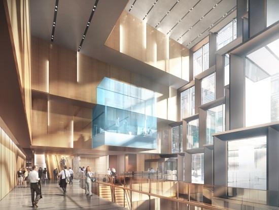 (図2)「(仮称)天神ビジネスセンター」の内部イメージ。明治通りと地下に通路を整備している道路の交わるコーナー部分に、地下2階から4階までの6層吹き抜け空間を設ける。地下2階は地下鉄天神駅や現在整備中の地下通路につながる(画像提供:福岡地所)