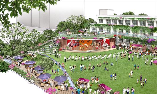 (図3)広場側からイベントホールを見たところ。広場に面してオープンな造りで一体利用が可能(画像提供:積水ハウス)