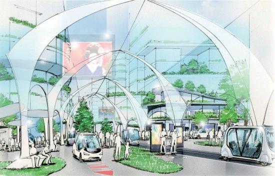 (図1)品川駅西口の2階駅前広場では、このセンターコアが歩行者動線の中心軸を形成する。歩行者と自動運転技術を用いたモビリティが共存する想定だ(資料提供:国土交通省東京国道事務所)